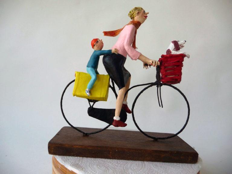 Moeder op fiets