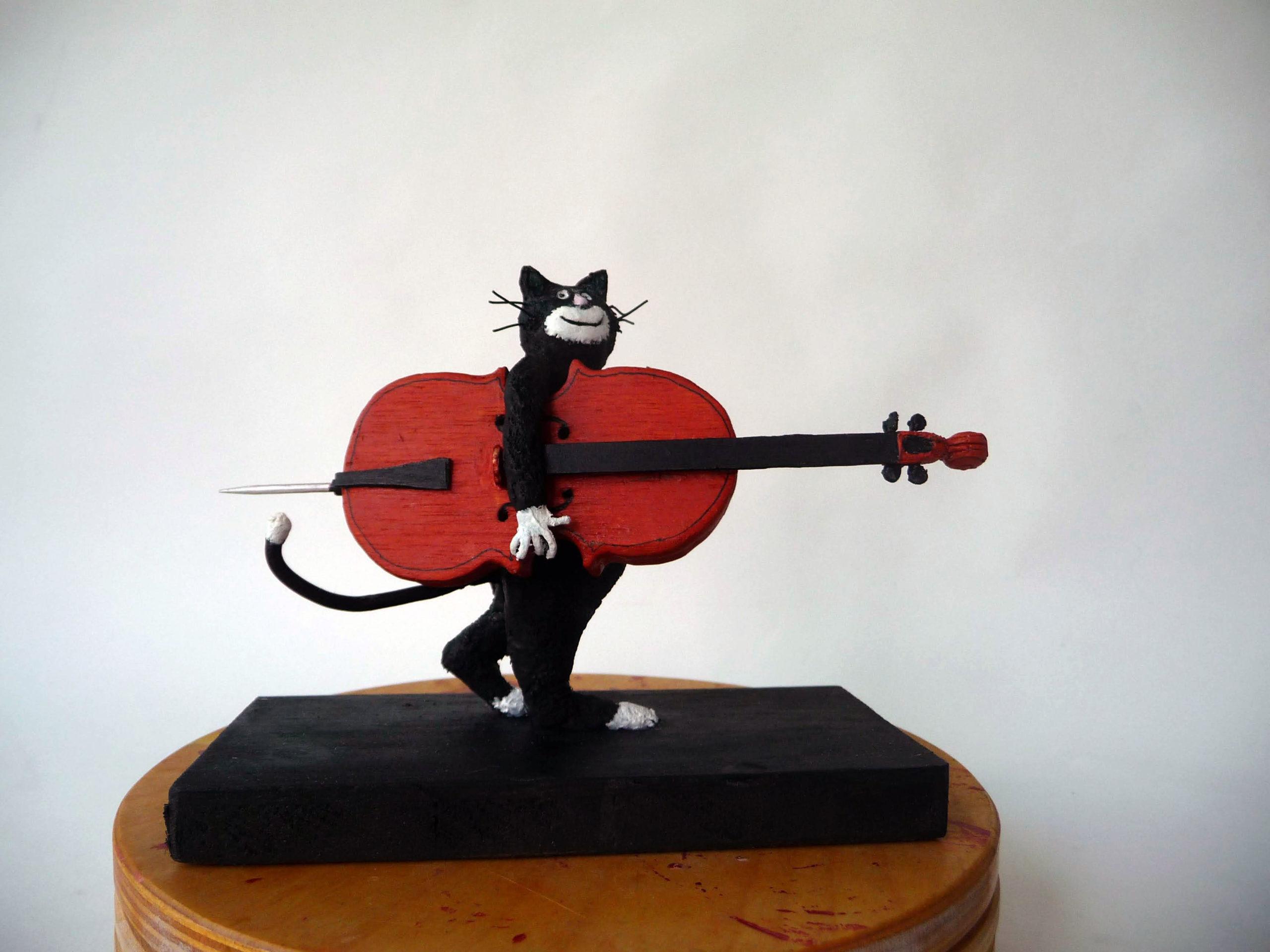 Kat met cello